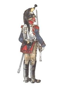 The Cuirassier was the heaviest of the Napoleonic Cavalry , these were big men on big horses with a breast plate or Cuirass hence their name. Many nations employed this form of heavy cavalry with armour such as the Austrians , Prussians and Russians, but the British never adopted armoured heavy cavalry during the war.