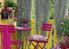 Florida hot spring colors on the porch..pink, yellow key west colors and wisteria