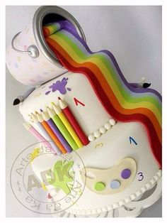 Spilled Rainbow Paint & Pencil Crayon Decorated Cake