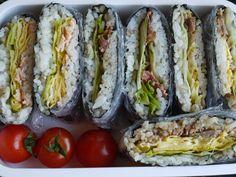 "Onigirazu is like a rice sandwich. Onigirazu means ""not nigiru"", in other words ""Do not make the Onigiri ball or triangle shape"". Rice Sandwich, Onigirazu, Fresh Rolls, Bento, Noodles, Sandwiches, Ethnic Recipes, Food, Macaroni"