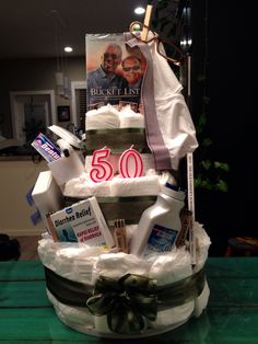 """Depends"" diaper cake for my dads 50th birthday!"