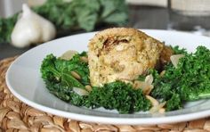 Stuffed Chicken & Sautéed Kale with Pine Nuts This filling, protein-packed dinner is bound to make it into your rotation of favorites. Just one serving of Pomegranate Bandit's Stuffed Chicken & Sautéed Kale with Pine Nuts has 42 grams!