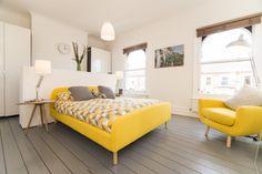 Jonah Kingsize Bed High Footboard, Dandelion Yellow | made.com