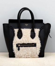 Cream Fur Celine Mini Luggage