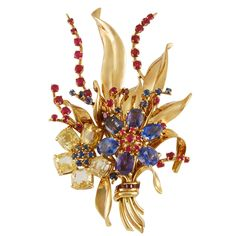 Van Cleef & Arpels Retro Gem Set Gold Bouquet Brooch | From a unique collection of vintage brooches at https://www.1stdibs.com/jewelry/brooches/brooches/