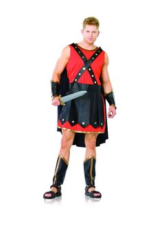 5pc Gladiator Costume includes tunic cape faux leather skirt and chest straps wrist cuffs and leg guards
