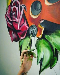 #rose #wall #art #tattoo #tattoogirl #painting #drawing artstudio #studio