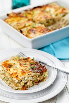 Cheesy Chicken & Artichoke Lasagna