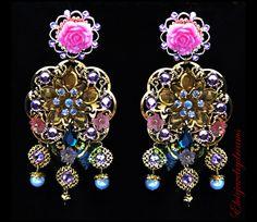 VIOLETTA - Pink Chandelier Earrings