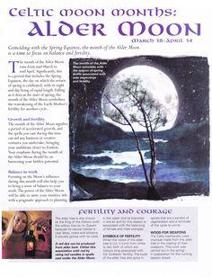 Moon:  Celtic #Moon Months: Alder Moon.