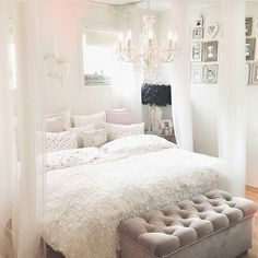 White pink bedroom. Its really pretty.