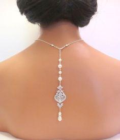 Backdrop Bridal necklace Wedding back drop by treasures570 on Etsy