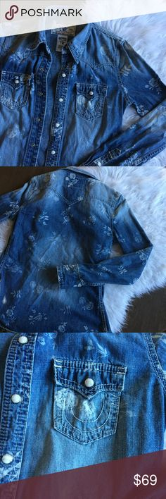 """True Religion Floral Denim Button Up Shirt Denim Button Up shirt with snap button closure. Washed Floral design. 💫 Smoke free home. Offers are welcome though the """"offer"""" button. No negotiations in the comments. No trades/holds/modeling requests, please. Bundle multiple items for a discount and only pay for shipping once! True Religion Tops Button Down Shirts"""