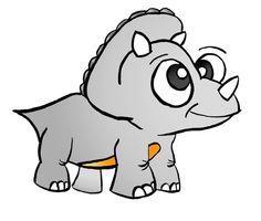 Triceratops Cute Royalty Free Dinosaur Cartoon Clipart