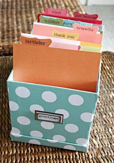 Office Organization A small box to hold your greeting card and stationery collection. Home Office Organization, Craft Organization, Sticker Organization, Organization Station, Coupon Organization, Craft Storage, Greeting Card Organizer, Greeting Card Storage, Deco Turquoise
