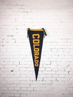 Vintage Colorado Pennant Felt Sewn Colorado Pennant Black and Yellow American Pennant Company Denver Paper Roll Holders, Wood Crosses, Denver Colorado, Wood Boxes, Leather Case, Moth, I Shop, Vintage Items, Best Gifts