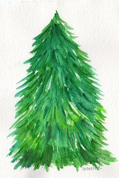 O Christmas Tree Painting 5 x 7 Original by SharonFosterArt, $18.00
