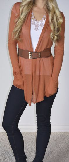 would be fun to try this style (cardigan, tank and belt). Don't like that particular belt style, buckle and color. I don't like the rust color. Earthtones are NOT for me.