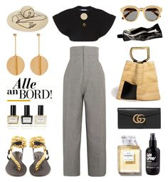 """Unbenannt #937"" by fashionlandscape ❤ liked on Polyvore featuring Álvaro, STELLA McCARTNEY, Balmain, Jacquemus, Eugenia Kim, Gucci and Aesop"