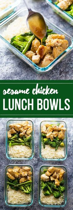 Nice Make these meal prep Honey Sesame Chicken Lunch Bowls and you'll have FOUR work lunches ready to go! The post Make these meal prep Honey Sesame Chicken Lunch Bowls and you'll have FOUR work lunches ready to go!… appeared first on Amas Recipes . Lunch Meal Prep, Healthy Meal Prep, Healthy Snacks, Healthy Eating, Healthy Recipes, Yummy Recipes, Lunch Time, Lunch Box, Healthy Snack Foods