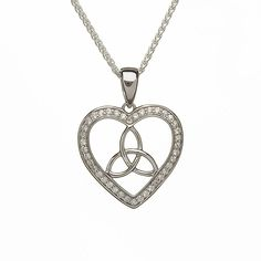 Trinity Knot and Heart CZ Necklace Sterling Silver Irish Made *** Read more reviews of the product by visiting the link on the image. (This is an affiliate link and I receive a commission for the sales)