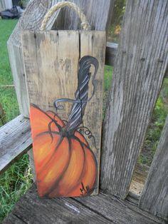 Pumpkin Painting, Pumpkin Art, Autumn Painting, Pumpkin Crafts, Autumn Art, Wood Block Crafts, Barn Wood Projects, Fall Primitives, Girls Night Crafts