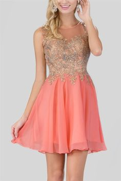 Beaded Bodice Short Dress - Coral or Tiffany Blue