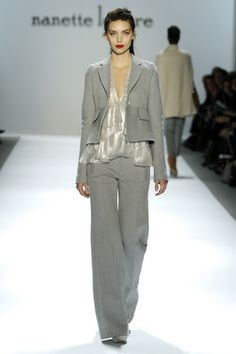 Tailored jacket layered over a ruffled top & pants - Nanette Lepore Fall 2011