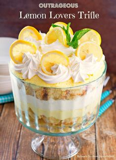 Fans of all things lemon will flip for this stunning Outrageous Lemon Lovers Trifle! #lemonloverstrifle #lemondesserts #lemontrifle #lemonlovers #lemon #desserts #dessertfoodrecipes #southernfood #southernrecipes #besttriflerecipes Lemon Curd Dessert, Lemon Trifle, Cheesecake Trifle, Trifle Desserts, Oreo Dessert, Lemon Desserts, Lemon Recipes, Pudding Desserts, Just Desserts