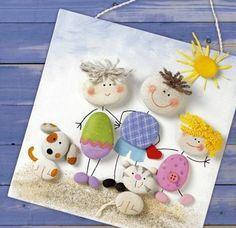 galet décoratifs et décorés à la peinture, une famille de galets peints, maman, papa, enfant, chat et chien, activité manuelle enfants