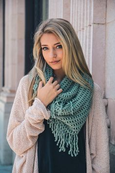 """The softest scarf ever! 100% acrylic but feels like cashmere. Lattice Tassel Fringe Infinity Style. The perfect accent to any outfit. 28"""" x 14""""."""