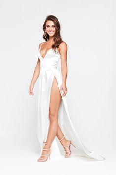 b50cbca269 A N Luxe Tiffany Satin Gown - White