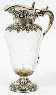 Silver and etched glass cream pitcher