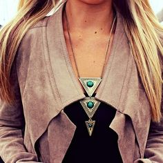 Triangle shape locket and leather jacket... click on pic for more