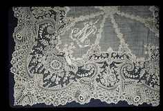 Handkerchief, Belgian (Brussels), 19th century, needle lace