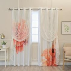 Adorn your windows with our stylish uMIXm Tulle and Faux Silk Watercolor Blackout mix and match curtains. Hand painted by our designer, the watercolor flower imagery on the Faux Silk curtains effortlessly Faux Silk Curtains, Curtains With Blinds, Blackout Curtains, Panel Curtains, Curtain Backdrop Wedding, Room Darkening Shades, Drapery Panels, White Tulle, White Paneling