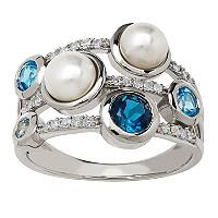 5 - 5.5 mm Pearl Ring with Blue Topaz and Diamond in Sterling Silver - Sam's Club