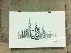 New York City, Skyline - NYC Skyline - Typography - Print - 11x17. $27.00, via Etsy.