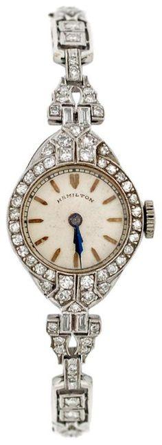 Hamilton Lady's Art Deco Platinum and Diamond Bracelet Watch. Circa 1920s.