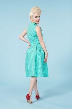 355aadb9f13 Golightly Lois Dress in Teal Dots Teal