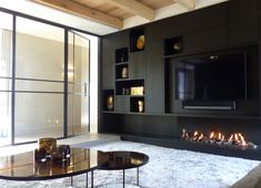 Living Room Storage, Living Room Tv, Living Room With Fireplace, Living Room Kitchen, Living Room Modern, Home And Living, Living Room Designs, Fireplace Tv Wall, Fireplace Built Ins