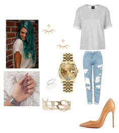 """""""1570"""" by paukar ❤ liked on Polyvore featuring Ivy Park, Topshop, Christian Louboutin, Rolex, Wanderlust + Co, Versace and De Beers"""