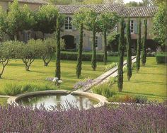 French Country Farmhouse, with Lavender and pond. Via www.claudiadeyongdesigns.com www.thegardenspot.co.uk