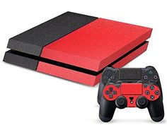 Eddie Internatioanl TM PS4 Console Designer Skin for Sony Playstation 4 Console System Plus Two 2 Decals For PS4 Dualshock Controller  Black and Red *** Visit the image link more details. Note:It is affiliate link to Amazon. #dc