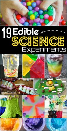 19 Edible Science Experiments - so many fun science projects for kids of all ages to explore a variety of scientific principles. # edible science experiments for kids 19 Edible Science Experiments Science Projects For Kids, Science Activities For Kids, Cool Science Experiments, Preschool Science, Stem Activities, Science Fair, Science Experiments For Toddlers, Candy Experiments, Summer School Activities