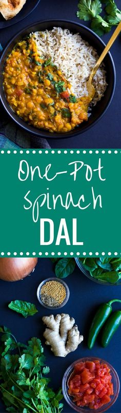 One-Pot Spinach Dal- a simple yellow dal made with warming spices, split peas and spinach. A great source of vitamin A, C, iron and plant protein! (vegan + gluten-free)