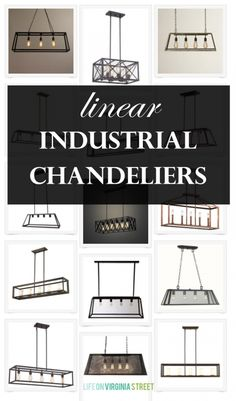 linear industrial chandeliers via lifeonvirginiastreet.com