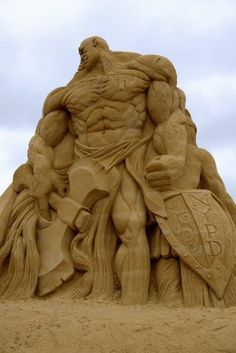 A sand sculpture pays tribute to the NYPD