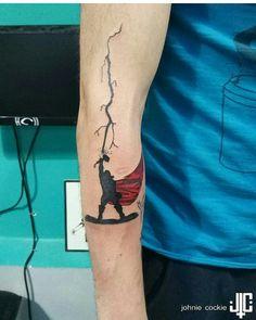 Thor tattoo for rachel Loki Tattoo, Marvel Tattoo Sleeve, Dc Tattoo, Body Art Tattoos, Small Tattoos, Sleeve Tattoos, Tatoos, Spiderman Tattoo, Avengers Tattoo