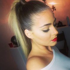blonde high ponytail and a red lip.. how can you go wrong with that